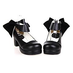 baratos -Mulheres Sapatos Classic Lolita Confeccionada à Mão Salto Alto Sapatos Sólido 4.5 cm Preto Couro PU / Couro de Poliuretano Trajes de Halloween
