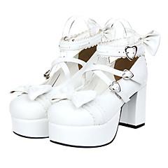 baratos -Mulheres Sapatos Sweet Lolita Plataforma Sapatos Laço 8 cm Couro PU / Couro de Poliuretano Trajes de Halloween / Princesa