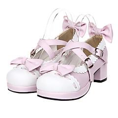 baratos -Mulheres Sapatos Sweet Lolita Salto Alto Sapatos Laço 4.5 cm Rosa Pálido Couro PU / Couro de Poliuretano Trajes de Halloween / Princesa