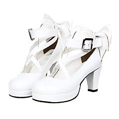 baratos -Mulheres Sapatos Sweet Lolita Classic Lolita Salto Alto Sapatos Laço 7 cm Couro PU / Couro de Poliuretano Trajes de Halloween / Princesa
