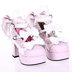 baratos -Mulheres Sapatos Gótica Lolita Salto Alto Sapatos Laço 7.5 cm Branco Rosa claro Couro PU / Couro de Poliuretano Trajes de Halloween / Princesa