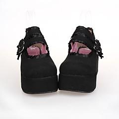 baratos -Mulheres Sapatos Lolita Plataforma Sapatos Rendas 7 cm Preto Couro PU / Couro de Poliuretano Trajes de Halloween