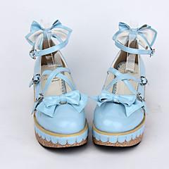 baratos -Mulheres Sapatos Sweet Lolita Salto Plataforma Sapatos Laço 5 cm Azul Rosa claro Couro PU / Couro de Poliuretano Couro de Poliuretano Trajes de Halloween / Princesa