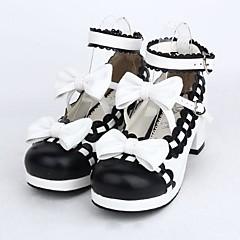baratos -Mulheres Sapatos Lolita Salto Alto Sapatos Laço 4.5 cm Preto Couro PU / Couro de Poliuretano Trajes de Halloween