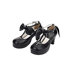baratos -Homens Sapatos Lolita Confeccionada à Mão Salto Agulha Côr Sólida Laço Bordado 6.5 cm Preto PU Leather Couro PU / Couro de Poliuretano Trajes de Halloween / Princesa