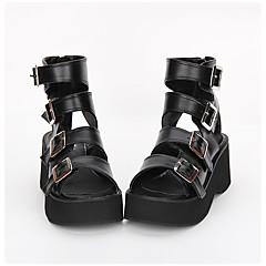 baratos -Homens Sapatos Lolita Confeccionada à Mão Plataforma Côr Sólida Lolita 7 cm Preto PU Leather Couro PU / Couro de Poliuretano Trajes de Halloween
