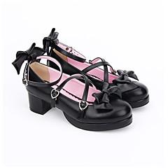 baratos -Mulheres Sapatos Sandálias Lolita Confeccionada à Mão Salto Robusto Laço Lolita 4.5 cm Preto PU Leather Couro PU / Couro de Poliuretano Trajes de Halloween / Princesa