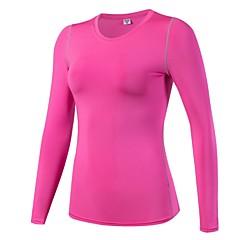 ราคาถูก -สำหรับผู้หญิง ครูเน็ค เสื้อยืดรัดรูป useless สีดำ ขาว สีบานเย็น สีแดงสว่าง สีน้ำเงินกรมท่า Elastane โยคะ วิ่ง การออกกำลังกาย Sweatshirt การบีบอัดสูท Tops แขนยาว กีฬา ชุดทำงาน Lightweight / ฤดูหนาว