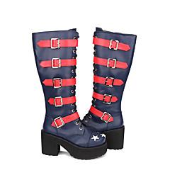 baratos -Mulheres Sapatos Botas Gótica Lolita Punk Góticas Salto Alto Retalhos Estrelas 10 cm Tinta Azul Couro PU / Couro de Poliuretano Trajes de Halloween