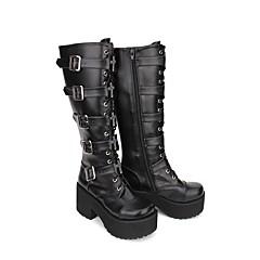 baratos -Mulheres Sapatos Botas Clássico Gótica Lolita Góticas Creepers Sapatos Sólido 8 cm Preto PU Trajes de Halloween
