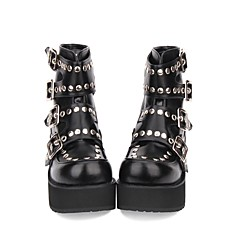 baratos -Mulheres Sapatos Botas Punk Salto Plataforma Sapatos Sólido 8 cm Preto PU Trajes de Halloween