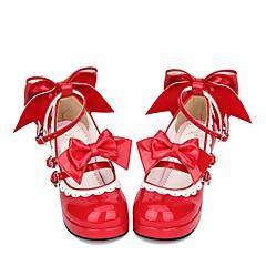 baratos -Mulheres Sapatos Princesa Salto Robusto Sapatos Cordão Bordado Laço 6.5 cm Vermelho PU Trajes de Halloween