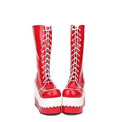 baratos -Mulheres Sapatos Botas Princesa Salto Plataforma Sapatos Cordão Bordado 10 cm Vermelho PU Trajes de Halloween