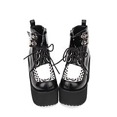 baratos -Mulheres Sapatos Botas Punk Góticas Creepers Sapatos Estampa Colorida 8 cm Preto PU Trajes de Halloween