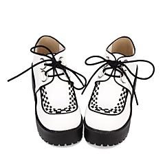 baratos -Mulheres Sapatos Punk Elegante Creepers Decoração de Cabelo Estampa Colorida 8 cm Branco PU Trajes de Halloween