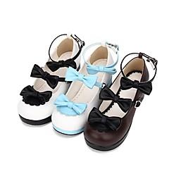 baratos -Mulheres Sapatos Princesa Salto Robusto Sapatos Cordão Bordado 4.5 cm Preto Marron Azul PU Trajes de Halloween