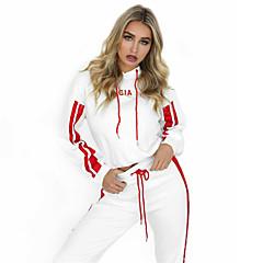 ราคาถูก -สำหรับผู้หญิง 2pcs streetwear สายผูก sweatsuit ฤดูหนาว วิ่ง การฝึกอบรมที่ใช้งานอยู่ กีฬา สลับ รักษาให้อุ่น ชุดออกกำลังกาย แขนยาว ชุดทำงาน ผสมยางยืดไมโคร ปกติ
