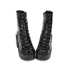 baratos -Mulheres Sapatos Botas Moda Punk Gótica Lolita Góticas Creepers Sapatos Sólido 8 cm Preto PU Trajes de Halloween / Steampunk