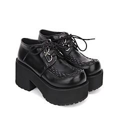 baratos -Mulheres Sapatos Punk Salto Plataforma Sapatos Sólido 8 cm Preto PU Trajes de Halloween