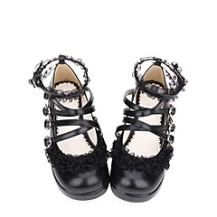 baratos -Mulheres Sapatos Sweet Lolita Classic Lolita Creepers Sapatos Sólido 3 cm Preto PU Trajes de Halloween