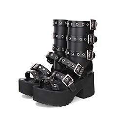 baratos -Mulheres Sapatos Gótica Lolita Punk Góticas Creepers Sapatos Lolita 8 cm Preto PU Trajes de Halloween