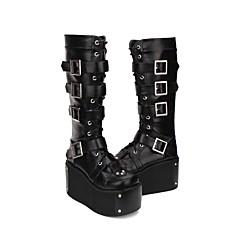 baratos -Mulheres Sapatos Botas Princesa Punk Creepers Sapatos Lolita Preto PU Trajes de Halloween