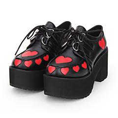 baratos -Mulheres Sapatos Gótica Lolita Punk Góticas Salto Plataforma Sapatos Estampado Estampa Colorida 8 cm Preto PU Trajes de Halloween