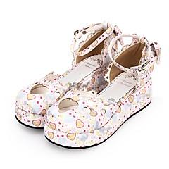 baratos -Mulheres Sapatos Princesa Salto Plataforma Sapatos Padrão 5 cm Branco Azul PU Trajes de Halloween
