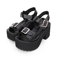 baratos -Mulheres Sapatos Gótica Lolita Punk Góticas Salto Plataforma Sapatos Côr Sólida 8 cm Preto Preto PU Trajes de Halloween