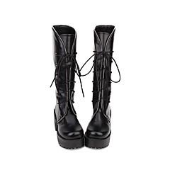 baratos -Mulheres Sapatos Botas Gótica Lolita Punk Salto Plataforma Sapatos Sólido 8 cm Preto PU Trajes de Halloween