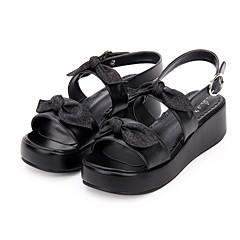 baratos -Mulheres Sapatos Gótica Lolita Princesa Salto Plataforma Sapatos Côr Sólida 5 cm Preto Branco PU Trajes de Halloween
