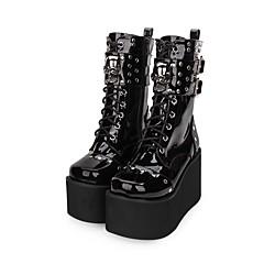baratos -Mulheres Sapatos Punk Salto Plataforma Sapatos Côr Sólida 10 cm Preto Couro PU / Couro de Poliuretano Trajes de Halloween