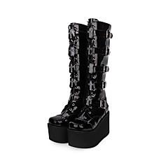 baratos -Mulheres Sapatos Botas Punk Góticas Salto Plataforma Sapatos Sólido 10 cm Preto Couro PU / Couro de Poliuretano Pele Artificial Trajes de Halloween