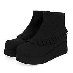 baratos -Mulheres Sapatos Punk Salto Plataforma Sapatos Sólido 5 cm Preto Couro PU / Couro de Poliuretano Trajes de Halloween