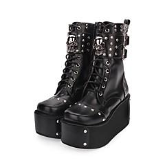 baratos -Mulheres Sapatos Punk Salto Plataforma Sapatos Sólido 8 cm Preto Couro PU / Couro de Poliuretano Trajes de Halloween