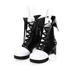 baratos -Mulheres Sapatos Botas Sweet Lolita Princesa Salto Grosso Sapatos Laço 6 cm Preto Couro PU / Couro de Poliuretano Trajes de Halloween