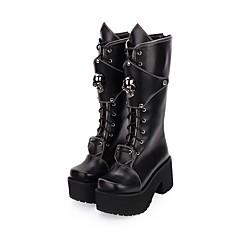 baratos -Mulheres Sapatos Botas Punk Creepers Sapatos Sólido 8 cm Preto Couro PU / Couro de Poliuretano Trajes de Halloween