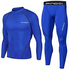 ราคาถูก -FINDCI สำหรับผู้ชาย ชุดบีบอัด ฤดูหนาว วิ่ง การฝึกอบรมที่ใช้งานอยู่ ยิมออกกำลังกาย กีฬา น้ำเงินรอยัล น้ำเงินเข้ม Lightweight ระบายอากาศ Sweat-wicking ชั้นฐาน เสื้อและกางเกงรัดรูป แขนยาว ชุดทำงาน ยืด