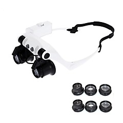cheap -10X 15X 20X 25X Wearing Glasses Eyes Illuminated Magnifier Magnifying Glass Watch Repairing Loupe With LED Lights