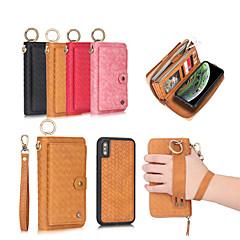 ราคาถูก -Case สำหรับ Apple iPhone XS / iPhone XR / iPhone XS Max Wallet / Card Holder / Shockproof ตัวกระเป๋าเต็ม สีพื้น Hard หนัง PU