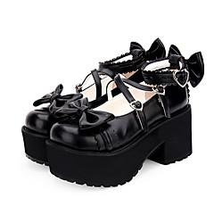 baratos -Mulheres Sapatos Princesa Salto Plataforma Sapatos Sólido 8 cm Preto Branco Tinta Azul PU Leather Trajes de Halloween