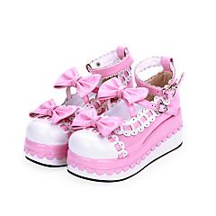 baratos -Mulheres Sapatos Sweet Lolita Princesa Salto Plataforma Sapatos Estampa Colorida 7 cm Preto Azul Rosa PU Leather Trajes de Halloween