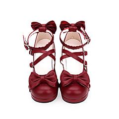 baratos -Mulheres Sapatos Sweet Lolita Princesa Salto Grosso Sapatos Sólido 4.5 cm Preto Vermelho PU Leather Trajes de Halloween