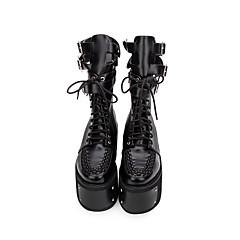 baratos -Mulheres Sapatos Botas Punk Góticas Creepers Sapatos Sólido 10 cm Preto PU Leather Trajes de Halloween