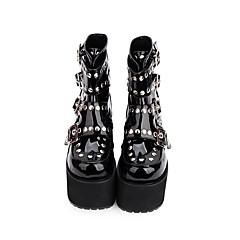baratos -Mulheres Sapatos Botas Punk Salto Plataforma Sapatos Sólido 13 cm Preto PU Leather Trajes de Halloween