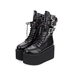 baratos -Mulheres Sapatos Botas Punk Creepers Sapatos Sólido 10 cm Preto PU Leather Trajes de Halloween
