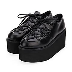 baratos -Mulheres Sapatos Punk Salto Plataforma Sapatos Sólido 8 cm Preto Tinta Azul Vermelho Couro PU / Couro de Poliuretano Trajes de Halloween