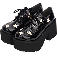 baratos -Mulheres Sapatos Punk Salto Plataforma Sapatos Estampa Colorida 8 cm Preto Pele Artificial Trajes de Halloween