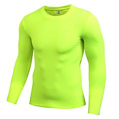 ราคาถูก -สำหรับผู้ชาย ครูเน็ค useless สีดำ สีเทา ขาว สีเหลือง สีเขียว วิ่ง การออกกำลังกาย ยิมออกกำลังกาย ชุดชั้นใน เสื้อยืดรัดรูป แขนยาว กีฬา ชุดทำงาน Fast Dry ระบายอากาศได้ ยืด