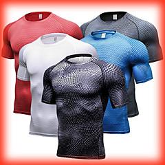 ราคาถูก -สำหรับผู้ชาย เสื้อยืดรัดรูป กีฬา สีพื้น เสื้อยึด การบีบอัดสูท ฟิตเนส บาสเกตบอล แขนสั้น ชุดทำงาน ระบายอากาศได้ ยืด